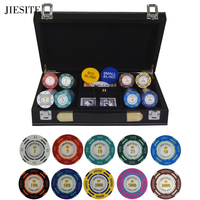 200/300/400/500PCS/SET Dollar Poker Chip Clay Casino Chips Texas Hold'em Poker Sets With PU Leather Suitcase&Table cloth