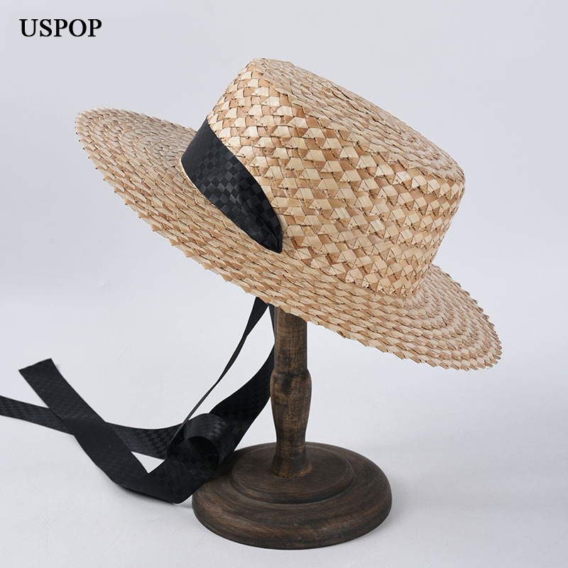 USPOP 2020 New Lace-up Straw Hats Women Summer Sun Hats Female Wide Brim Flat Beach Hat Sun Shading