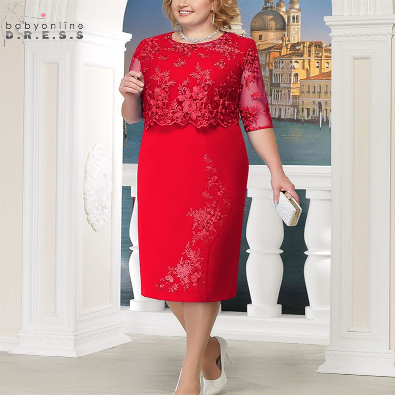 Robe De Mere Elegant Lace Plus Size Mother Of The Bride Dresses Half Sleeve Mother Evening Party Dresses Vestido De Madrinha