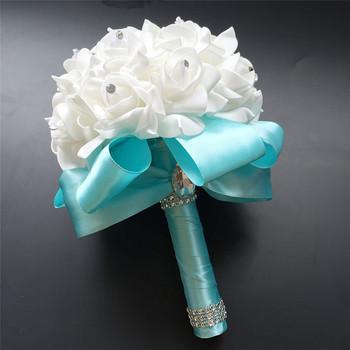 Bukiety ślubne dla druhen dekoracje bukiet ślubny kwiaty akcesoria ślubne małe bukiety ślubne kwiat pianki tanie i dobre opinie Poliester Rayon NYLON spandex 24cm 18inch Ball Flower 01a 18x24cm Wedding Bouquet Viscose wedding flowers bridal bouquets