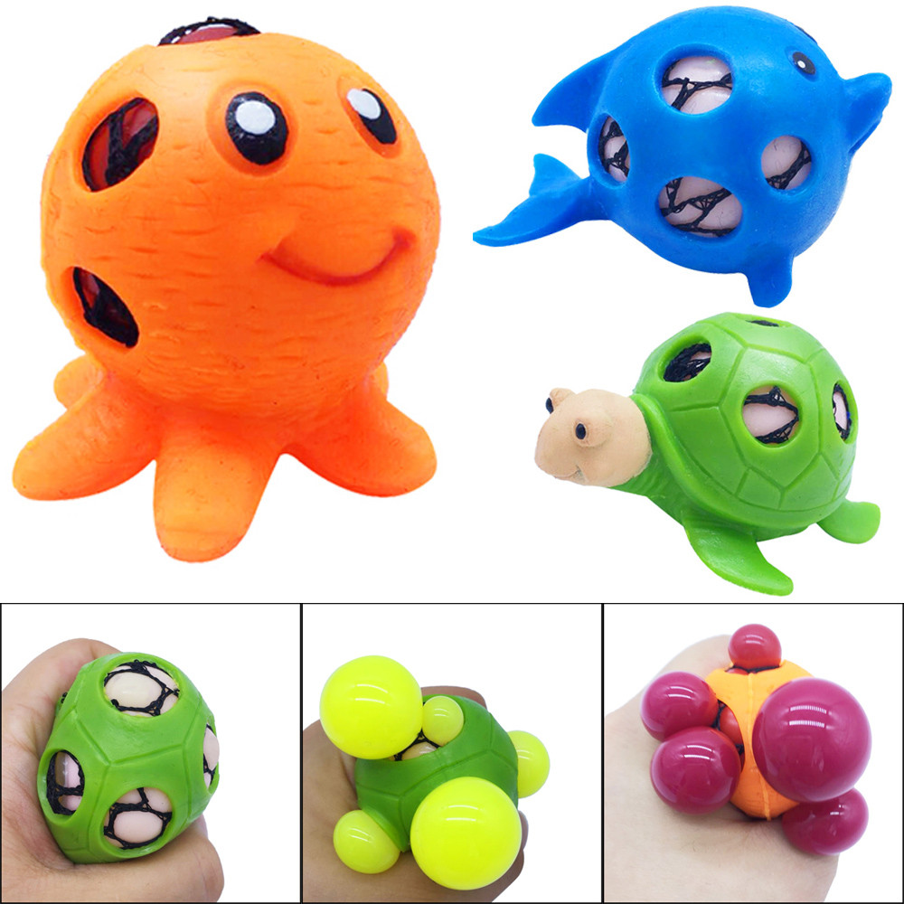 2020 NEW HOT Marine Animal Mesh Balll Grape Balls Squeeze Bath Toy Pressure Stress Relief Toy