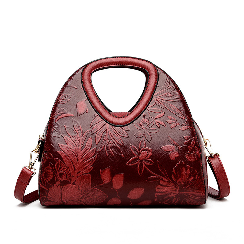 Women Leather Handbags Floral Embossed Luxury Brand Female Soft Leather Shoulder Bag High Quality Crossbody Bags For Women 2019