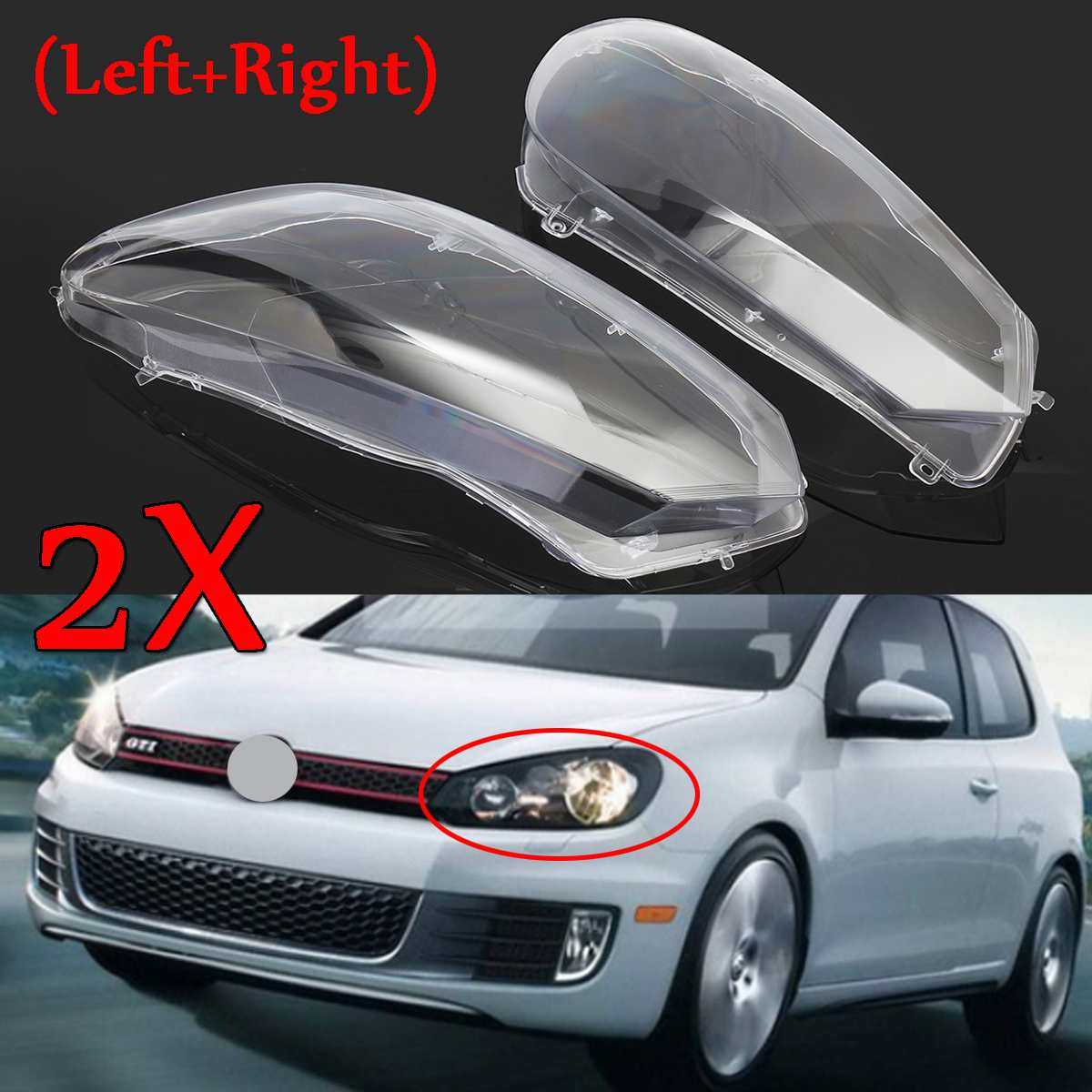2Pcs Car Front Headlight Headlamp Lens Cover Lenses Dust Cover Shell Plastic For VW For Volkswagen Golf 6 MK6 GTI R 2010-2014