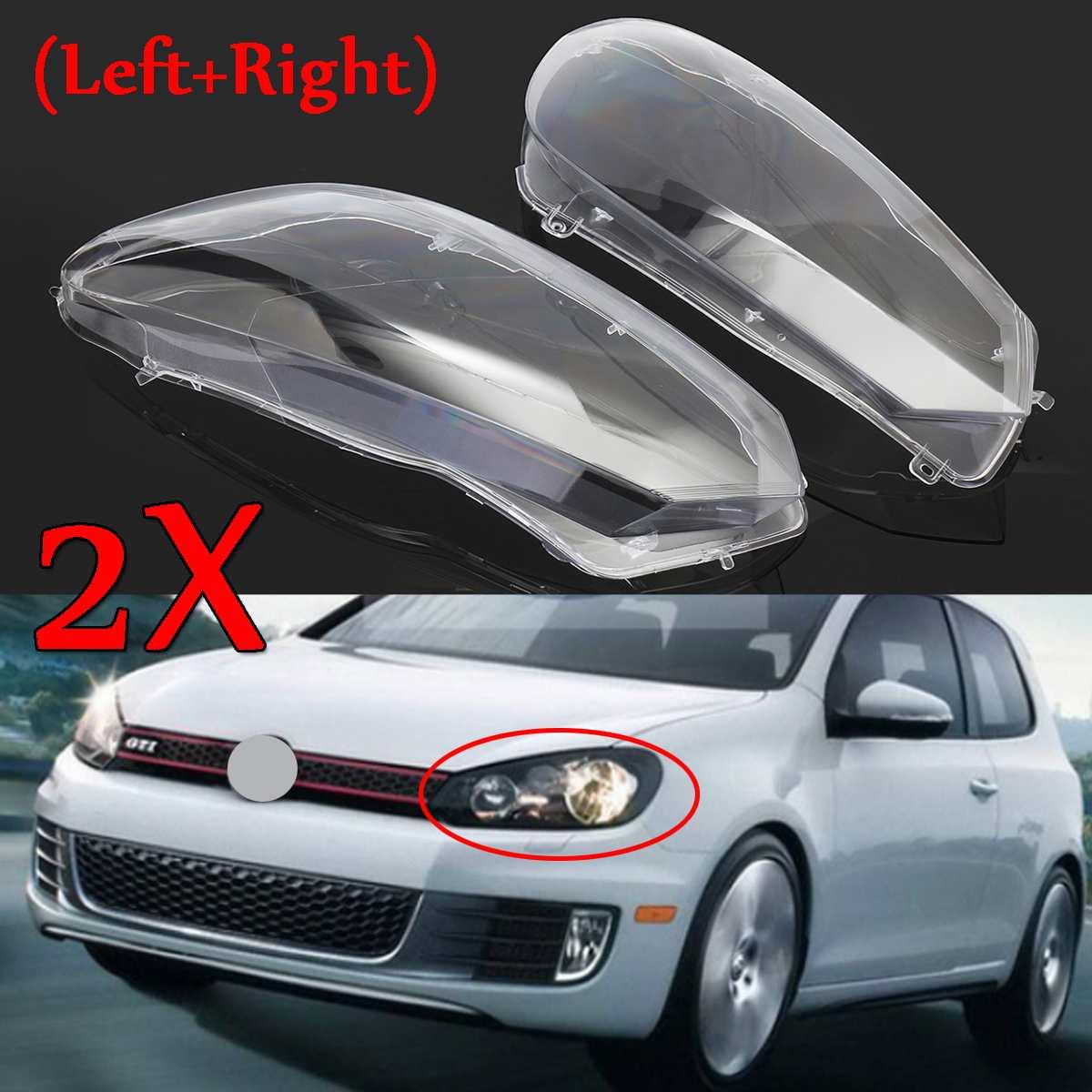 2Pcs Car Front Headlight Headlamp Lens Cover Lenses Dust Cover Shell Plastic For VW For Volkswagen Golf 6 MK6 GTI R 2010-2014
