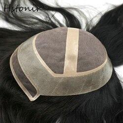 Hstonir peluca mujer indio humano Remy pelo tupé Real Mono encaje Natural línea de pelo nudos invisibles Topper TP11