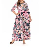 Plus Size Women Pink Dress Long Sleeve Autumn Dress With Bownet High Waist Floral Long Dress Ladies Large Size Elegant Vestido