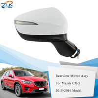 ZUK 2PCS Exterior Door Rearview Mirror For Mazda CX 5 2015 2016 With Electric Angle Adjust Folding Heating Blind Spot Monitoring