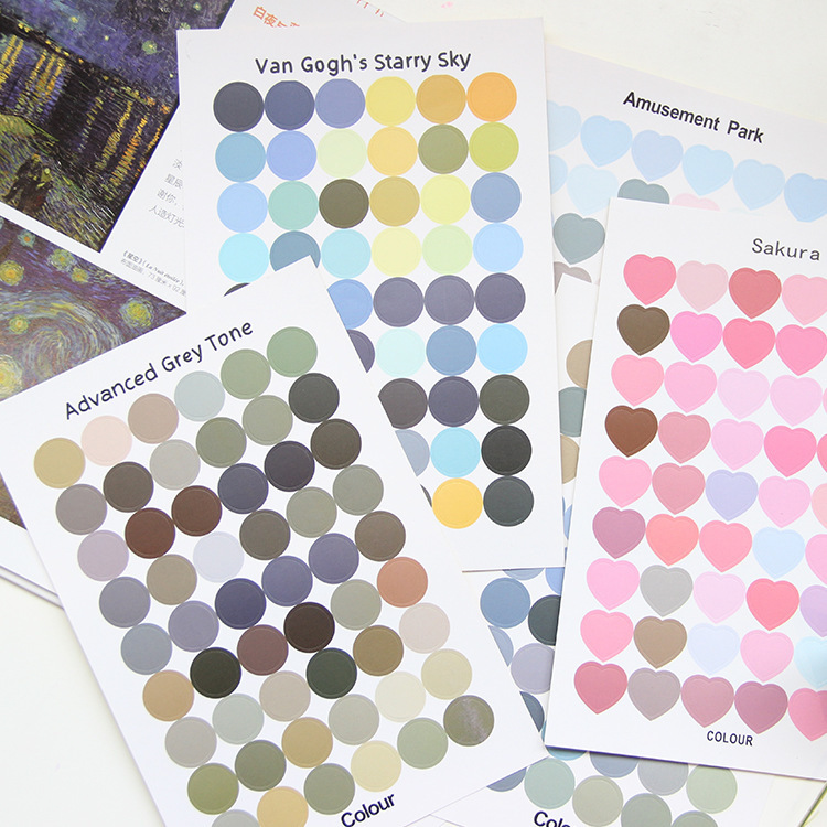 Sandro Lovely Color Love Circle Point Sticker Hand Account Sticker Diy Seal Subsidies Hand Shell Decoration Sticker