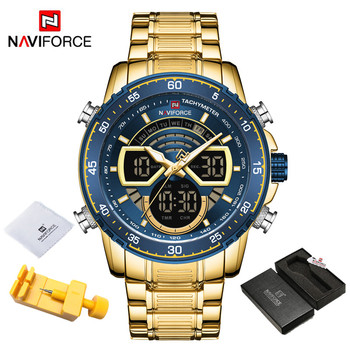 NAVIFORCE Mens Military Sports Waterproof Watches Luxury Analog Quartz Digital Wrist Watch for Men Bright Backlight Gold Watches 9