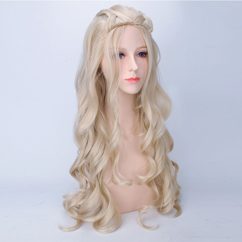 WHIMSICAL W Long Wavy Blonde Wigs Costume For Women Heat Resistant Hair Synthetic Wig Peruca Pelucas