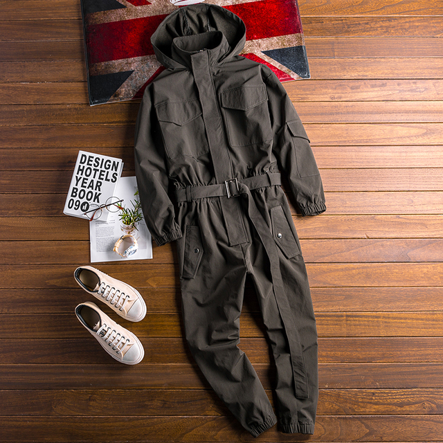 Autumn New Men's Loose Bib Overalls Hip Hop Jumpsuits With Hooded Jacket Belt Male Workwear Bib Coveralls Suspender Pants 4