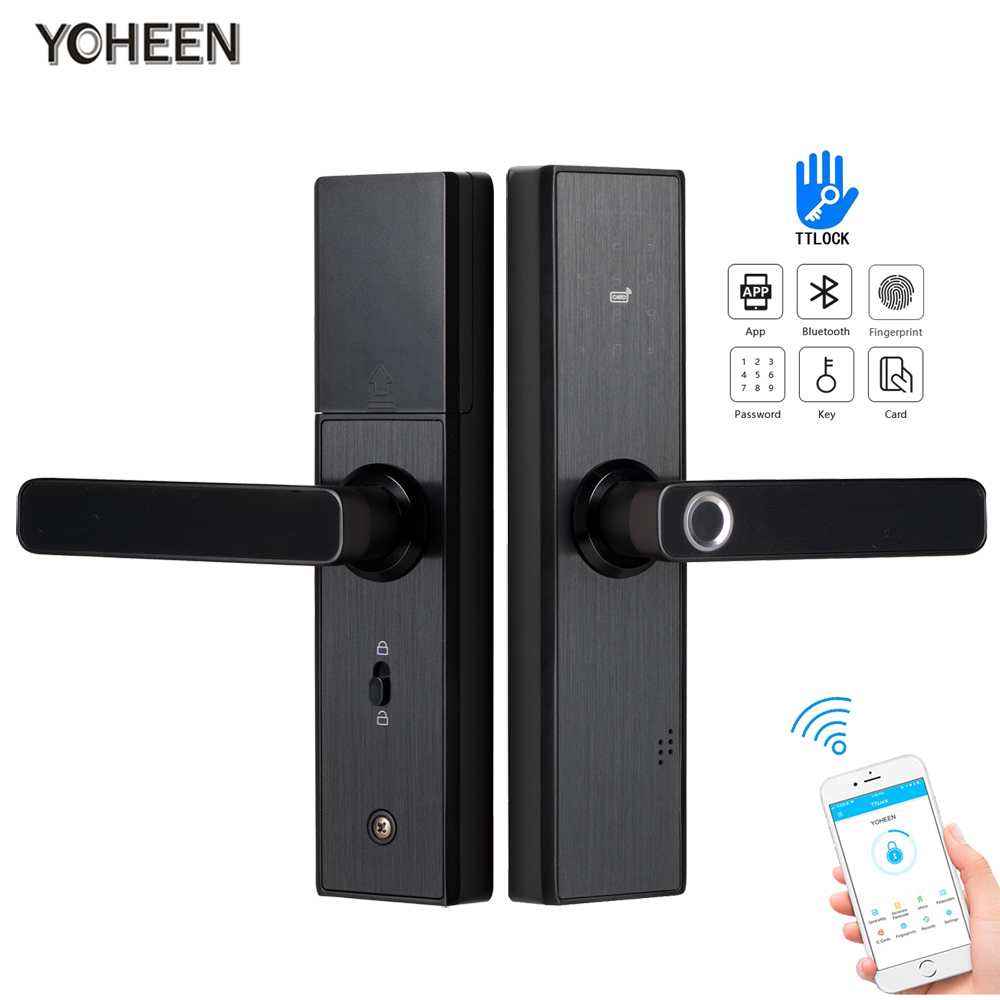 YOHEEN TTlock APP Bluetooth WIFI Door Lock Biometric Fingerprint Smart Lock Electronic Keypad Code Keyless Digital Door Lock