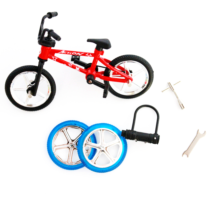 Simulation Mini Alloy Finger Bicycle Model Children Toys Spare Tire Wheel Tool Lock Set Toy Gift For Kids