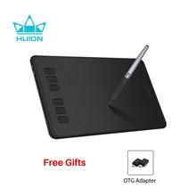 Huion inspiroy h640p comprimidos de desenho digital sem bateria gráficos caneta tablet com 8192 níveis de pressão stylus com presente otg