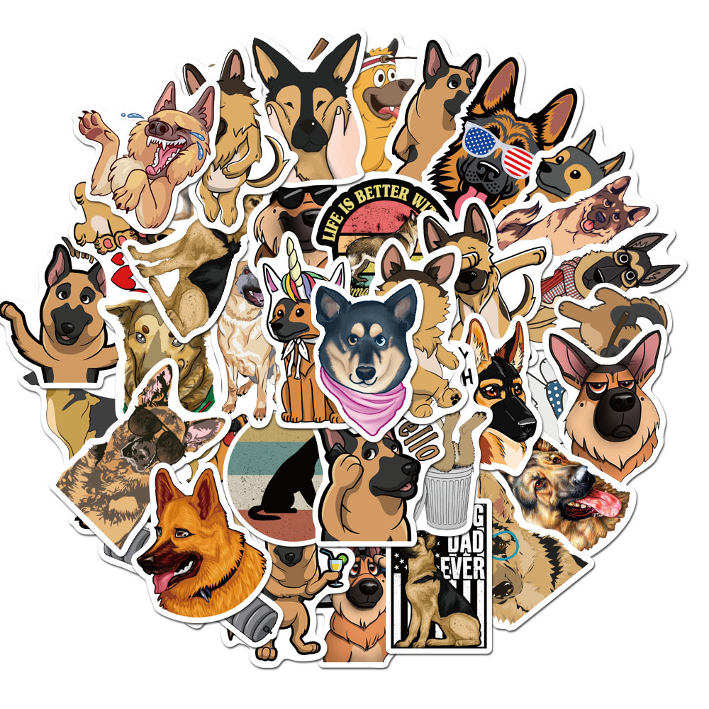 50 Pcs/pack Sheepdog Waterproof Journal PVC Decorative Stickers Adhesive Stickers DIY Decoration Craft Scrapbooking Stickers