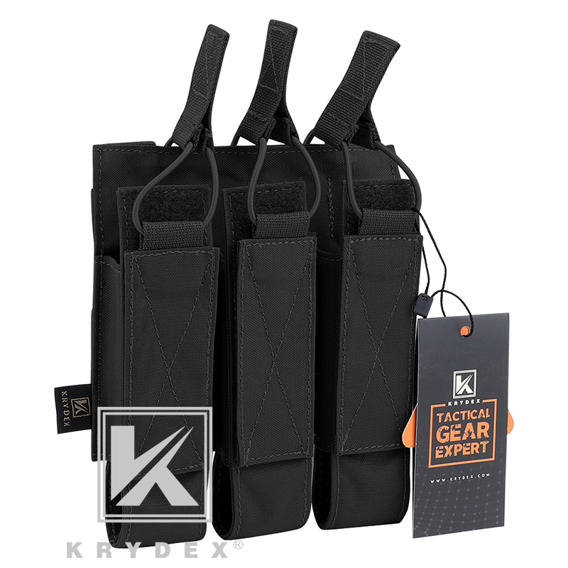 KRYDEX Tactical Modular Triple Magazine Pouch For Airsoft Hunting MOLLE Triple Open Top SMG Mag Carrier For MP5 MP7 KRISS BK