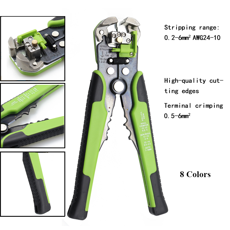 Pliers 3 In 1 Multi Tool Automatic Adjustable Crimping Tool Cable Wire Stripper Cutter Peeling Pliers Green Repair Hand Tools