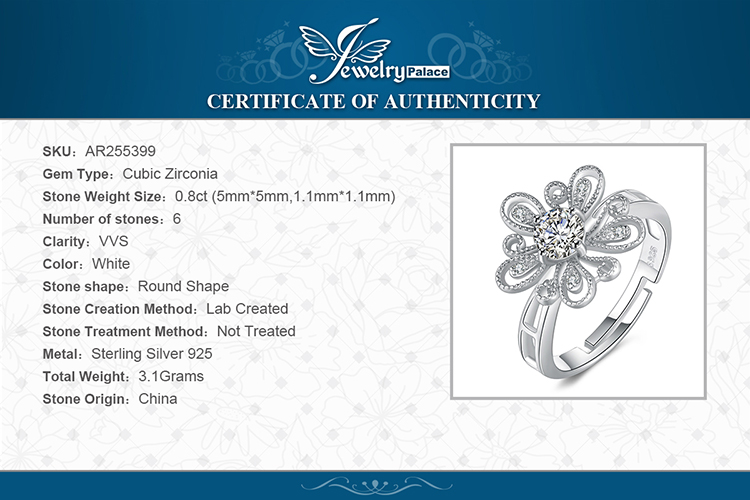 JewelryPalace Cubic Zirconia CZ Milgrain Filigree Blossom Flower Adjustable Open Ring 925 Sterling Silver Rings for Women Hf3cae5ac50c24e33928090cce9ef3f88Y silver ring