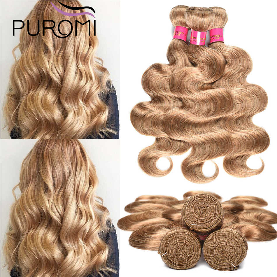 "Puromi Brazilian Body Wave Hair Weave Bundles Color #2/#27/#99j Human Hair Bundles 10-24"" Remy Hair Extensions Bundles"