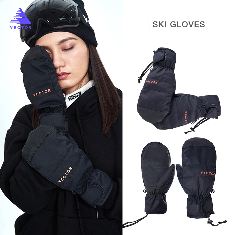 2-in-1 Mittens Ski Gloves Snowboard Men Women Female Snow Winter Sport Warm Waterproof Windproof Skiing Faux Leather Plam Hot