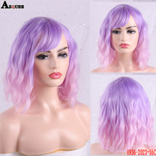 Ombre Wigs Black/white Hair-Wig Short AZQUEEN Women for Wavy Temperature High-Density