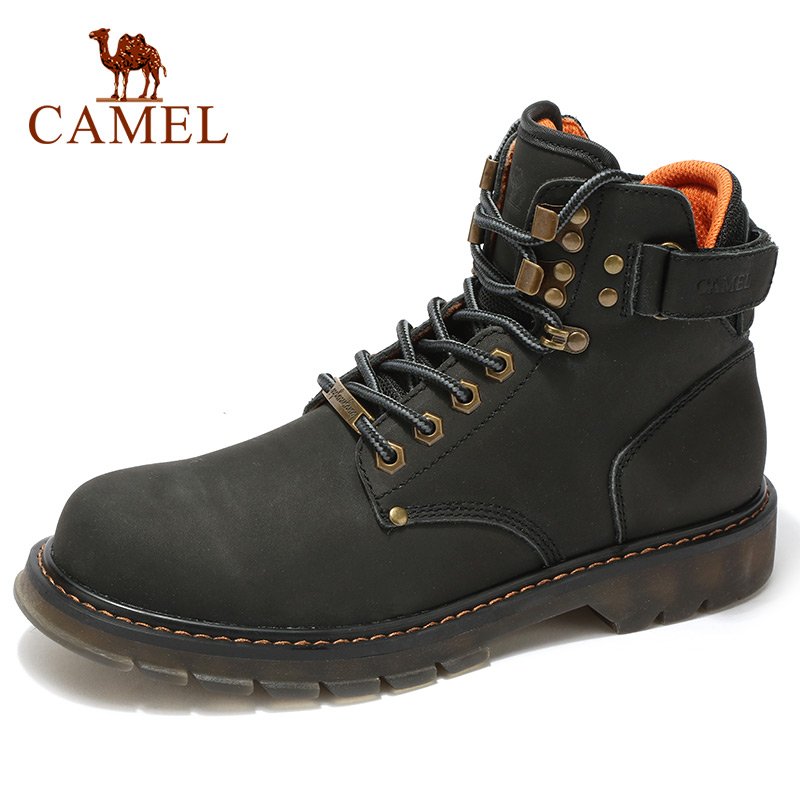 CAMEL Ankle Short Men's Boots Warm Cool Martin Boots Men Fashion Wild Retro Tooling Genuine Leather Boot Non-slip Military Bota