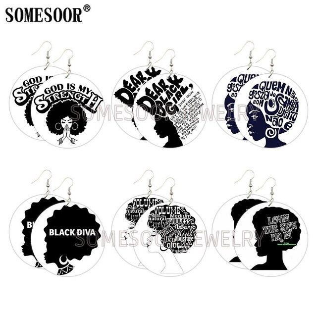 SOMESOOR noir Diva fille magie Afro Arts peint en bois goutte Earrigs dieu Srength inspirer dictons grandes boucles rondes pour les femmes cadeaux
