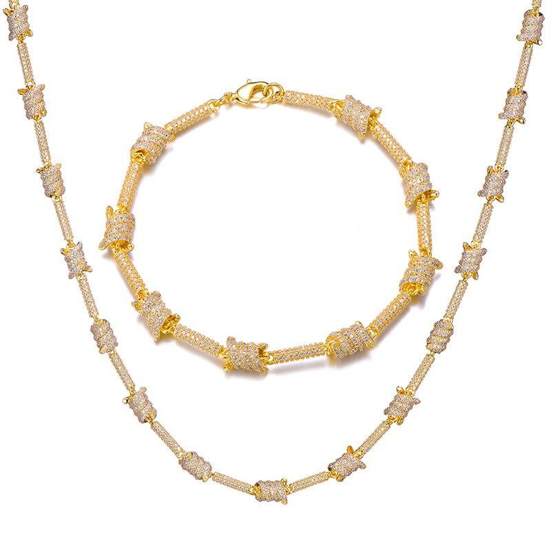 7MM glacé Bling AAA CZ cubique zircone spirale lien chaîne collier Bracelet pour hommes Hip Hop rappeur bijoux cuivre or argent - 5