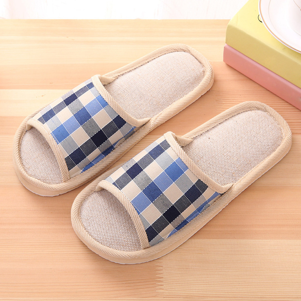 Slippers Men Summer Men's Fashion Casual Couples Gingham Home Slippers Indoor Floor Flat Shoes тапочки домашние  2020