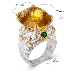 Image 5 - 20*15mm gran Topacio dorado zirconia anillo de joyería de lujo Chapado en plata joyería grande para mujer anillos de cóctel fiesta