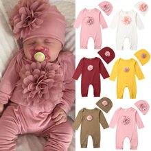 Комплекты одежды для новорожденных девочек, комплект из 2 предметов с объемным цветком, комбинезон с длинными рукавами + шапочка, однотонная...