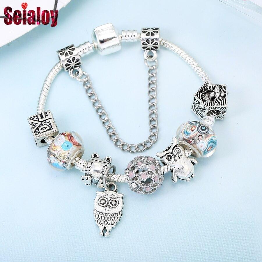 Seialoy New Animal Charm Bracelet Bangle With Clown Pendant Bracelet For Women Girl Jewelry