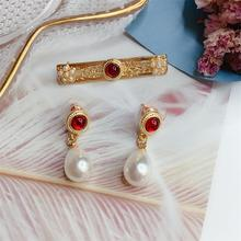 brooch earring set  needle pearl earring corsage simple temperament broches women rhinestone  pins  brooches for women