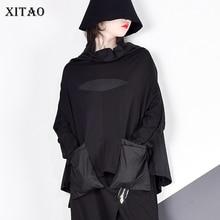 XITAO Harajuku Patchwork Pocket T Shirt Women Stand Collar Plus Size Casual Black Streetwear Female Stitch Korean Summer LYH2877