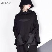 Xitao Harajuku Patchwork Pocket T Shirt Vrouwen Stand Kraag Plus Size Casual Black Streetwear Vrouwelijke Stitch Koreaanse Zomer LYH2877