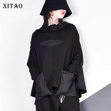 XITAO Harajuku Patchwork cep T Shirt kadın standı yaka artı boyutu rahat siyah Streetwear kadın dikiş kore yaz LYH2877