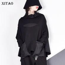 Женская футболка с карманами xitao harajuku повседневная черная