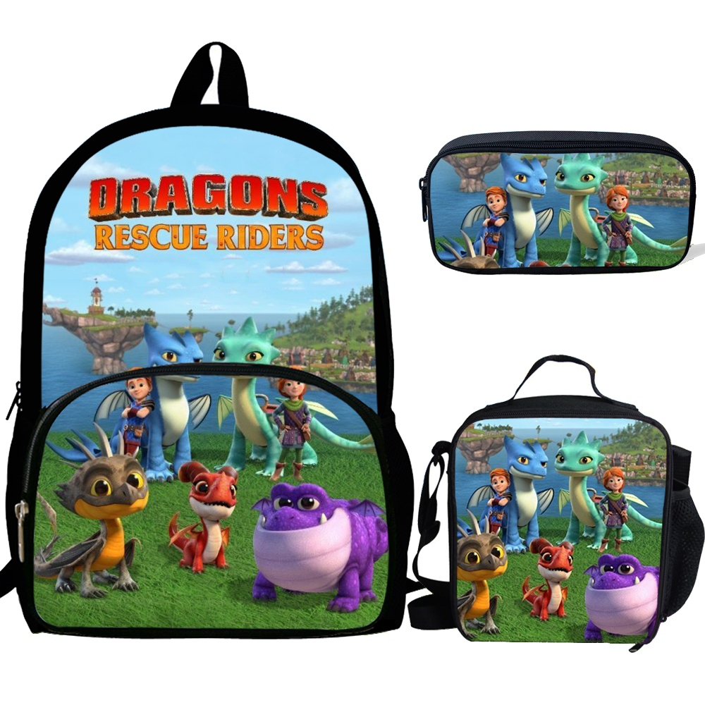 16inch Mochila Boys School Bags Dragon Rescue Riders Backpack Bag For Boys Girls Rucksack Teenagers 3 Set Gift Kids Luch Bag