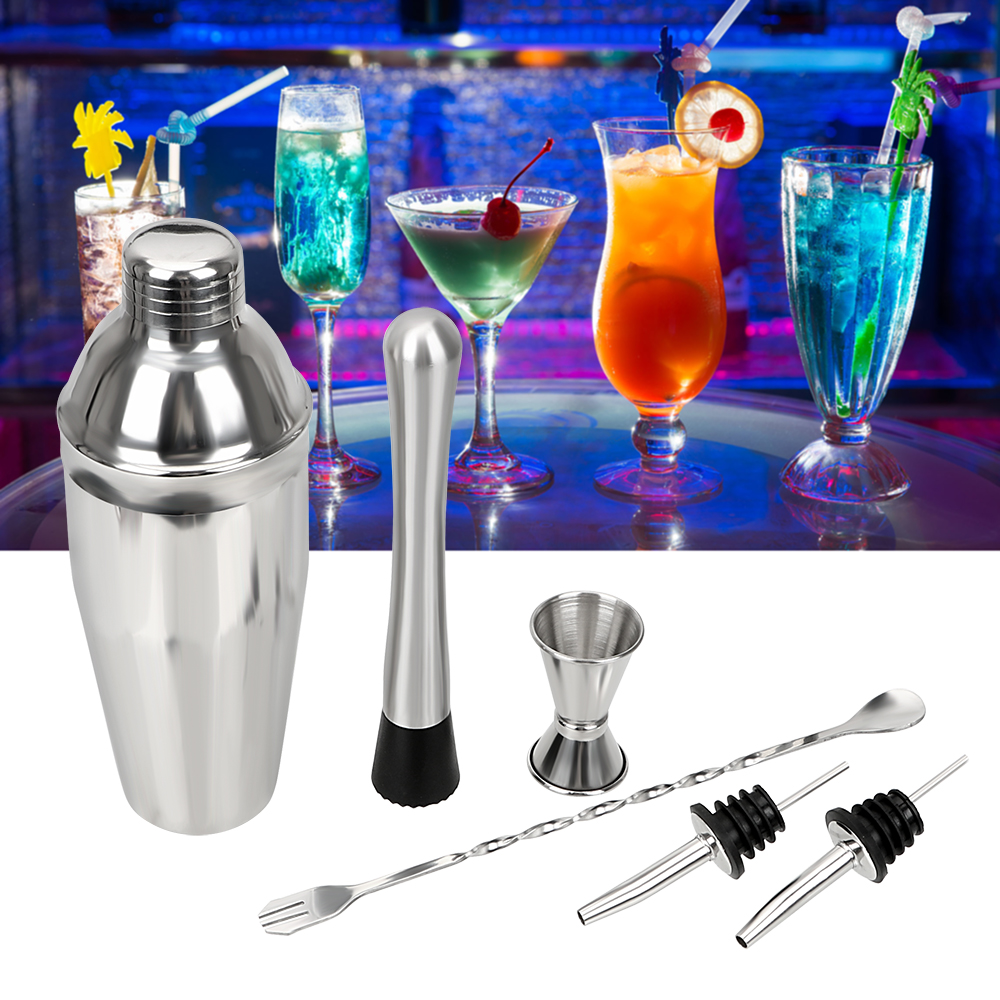 NICEYARD 6Pcs/Set Cocktail Whisks Wine Pourers Bar Sets Fruit Muddlers Swizzle Stick Measuring Cup Cocktail Shakers Bar Tools