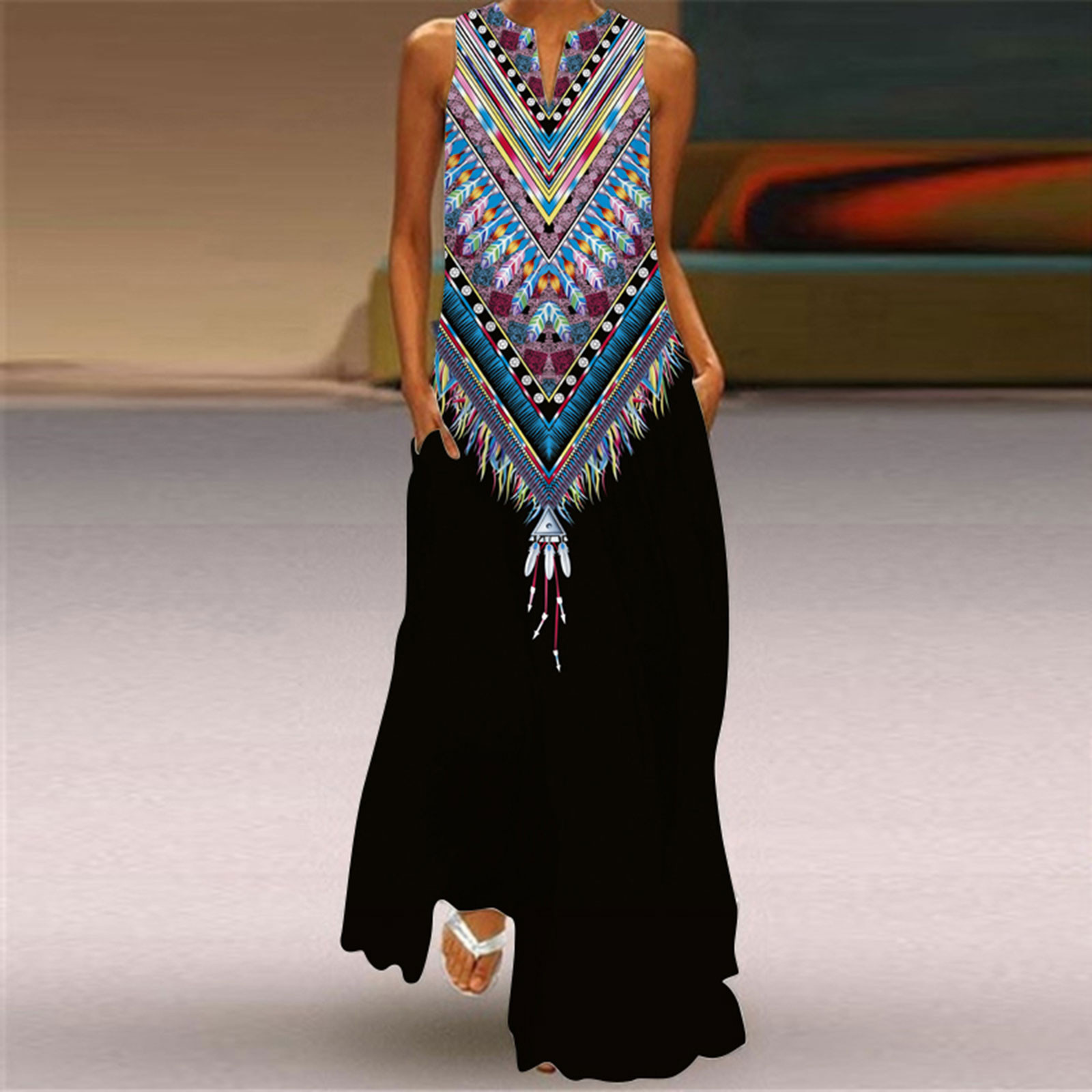 40# Women Floral Print Tank Long Dress Summer Sleeveless V-neck Party Maxi Cami Dress Holiday Plus Size Loose Pocket Robe Femme