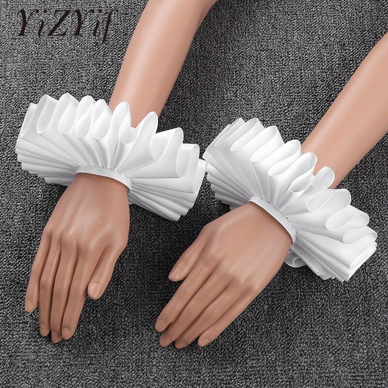 Victorian Cuffs Wrist Cuff Renaissance Elizabethan Ruffled Wrist Sleeves Cuffs Bracelet Halloween Cosplay Hand Wear Cuffs Unisex