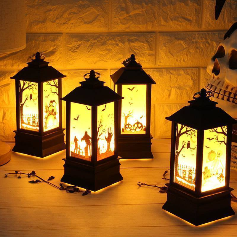 Halloween Simulated Flame LED Light Pumpkin Castle Decorative Lamp Small Hand Lantern For Holiday Outdoor Bar Garden Decoration