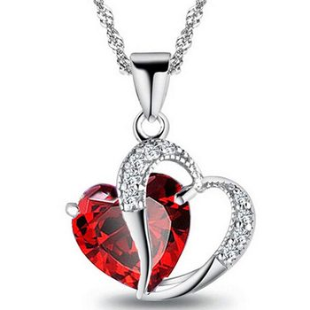 Luxury Ladies Necklace Hot Necklace 6 Colors Top Class Lady Fashion Heart Pendant Necklace Crystal Jewelry Girls Women Jewelry 1