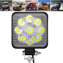 1pc 27W Car 9-LED Work Lamps Square Light IP67 Aluminum Alloy 2700LM For Off-road ATV Truck Motorcycle Boat