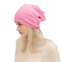 Autumn and Winter New Women Unisex Knitted Cotton Hat Sports Street Style Solid Color Hip Hop Casual Loose Button Lazy Gorro