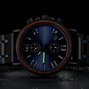Image 3 - Bobo Vogel Relogio Masculino Horloge Mannen Hout Chronograph Horloges Mannelijke Top Merk Luxe Militaire Rvs Grooms Gift