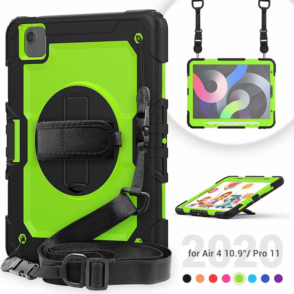 Heavy For Protective Silicone Air iPad 4th Duty with Generation Case Film Kickstand Screen