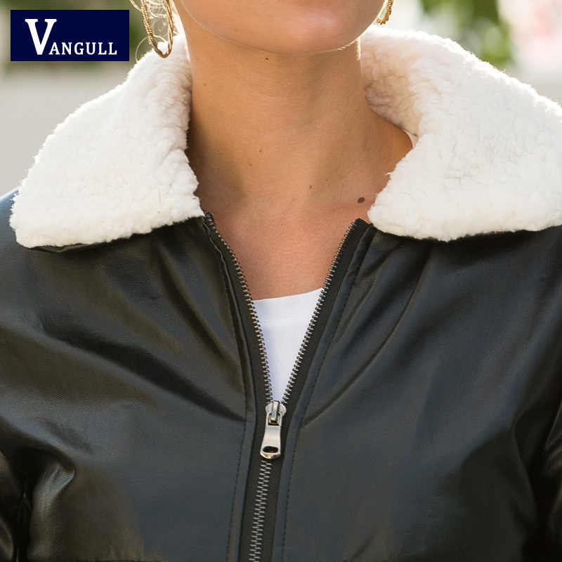 Vangull Winter Women Pu Leather Coat Turn-Down Collar Zipper Warm Jacket Autumn New Casual Imitation Fur Leather Coat Outwear