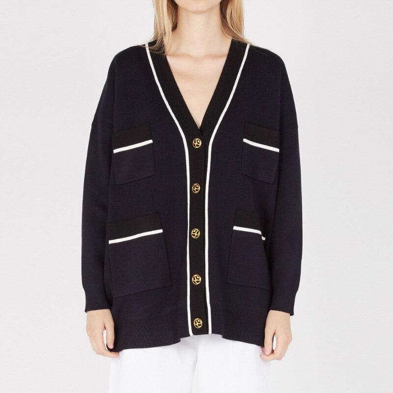 Tunjuefs lâche bleu marine Patchwork bouton noir Cardigan femmes chandail manteau poches haussement d'épaules haut tricoté automne hiver Streetwear