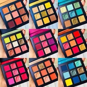 Image 2 - Schönheit Glasierte Make Up Lidschatten Pallete make up pinsel 9 Farbe Schimmer Pigmentierte Lidschatten Palette Make up Palette maquillage